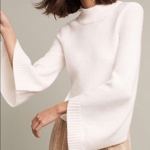 Moth Ivory Cropped Bell Sleeve High Neck Sweater